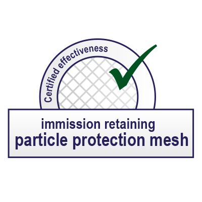 Logo Immission inhibiting particle protection fabric